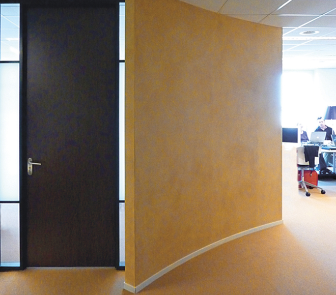 clay wall roman ocher in the office